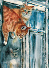 Freedom! Red Cat Escapes Through Small Window Modern Russian postcard