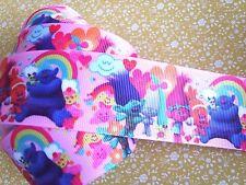 1 M x Bonito Trolls Cinta del Grosgrain Artesanía Cabello Moño Pastel Arte - 38 Mm-UK