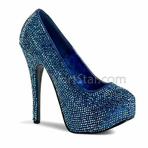 Adult Women's Pleaser Teaser Rhinestone Fashion True Blue Platform Heels Size 6