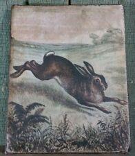 Primitive Antique Vintage Folk Art Style Rabbit Print On Canvas 8 X 10