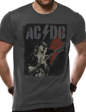 Official AC DC Angus Young Lightning Flash T Shirt Logo Hard Rock Mens Grey NEW