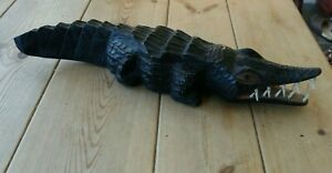 Large 1990s African wooden carved crocodile