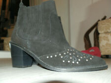 Women's Cowboy Chelsea Boots-New Look-Black Suede/Silver Studs-Size 6-BNWT