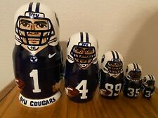 Russian Nesting Dolls Byu Cougars Beautiful Set! 5 pieces 6.5� Tall