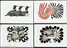 4 Inuit art cards artist Kenojuak Ashevak Inuit • Owl Bird Loons - Free shipping