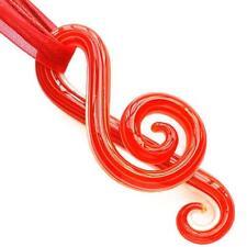 Red Musical Note Handmade Lampwork Glass Murano Bead Pendant Ribbon Necklace