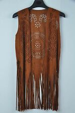 TS Accessories  Boho Gypsy Hippie Western Faux Suede  Fringed Vest Tunic Size M