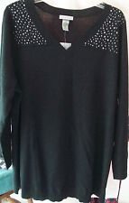 Woman's Plus Size Black Beaded Sweater/Blouse from Catherine's  1X 18/20W  NWT