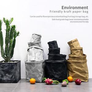 Washable Kraft Paper Bag,Multifunctional Home Wear-resistant Storage Food Bag