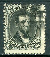 USA 1866 Lincoln 15¢ Black Scott # 77 VFU I313 ⭐⭐⭐⭐⭐⭐