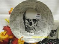 4 ROYAL STAFFORD ENGLISH POTTERY HALLOWEEN CEREAL Pasta BOWLS SKULL Skeleton