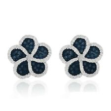 Sterling Silver 1.04 Ct Round Cut Natural Diamond Flower Cluster Stud Earrings
