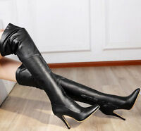 Fashion Women Sexy Leather Pointy Toe Over Knee High Boots Zip Black Shoes Lady