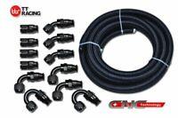 30FT AN8 8AN Black Nylon PTFE Fuel Line Black 12 Fittings Kit E85 Ethanol