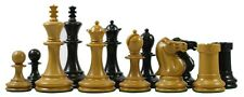 Vintage Reproduction Small Club Library 1867 Antique 3.5'' Ebony Wood Chess Set