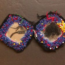 Matched PAIR BellyDance GUL Kuchi Tribal BEADED Medallions (XS) 838z4