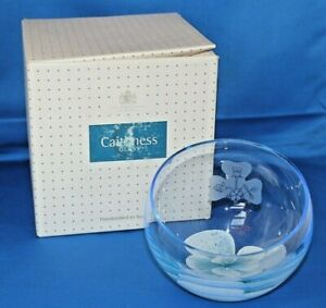 Beautiful Caithness Glass Tranquility Blue Half Moon Bowl Vase Boxed & Sticker