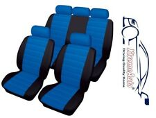 Bloomsbury Black/Blue Leather Look Car Seat Covers For Renault Clio Twingo Mega