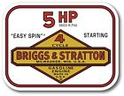 """Vintage Briggs & Stratton Easy Spin 5 HP Small Engine 4"""" X 3"""" sticker decal"""