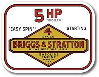 "Vintage Briggs & Stratton Easy Spin 5 HP Small Engine 4"" X 3"" sticker decal"