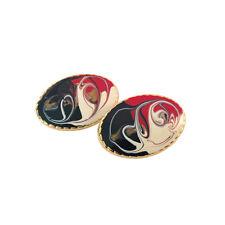 Art Studio Earrings, Clip-On Abstract Design Earrings for Women, Oval Shape