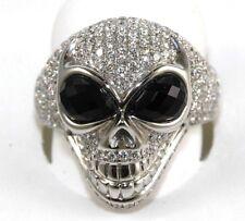 Fine Round Diamond & Onyx Skull Shape Cluster Fashion Ring 18k White Gold 3.56Ct