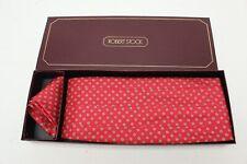 NEW Robert Stock Mens Silk Cummerbund Pocket Square Set Red Floral Neat Print