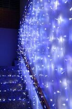 576 LED Blue & White Wedding Curtain Backdrop Lights Open Close Door Function 3M