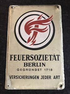 SAMMLEROBKEKT * ALTES EMAILLESCHILD FEUERSOZIETÄT BERLIN gegr. 1718 mit PATINA