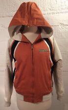 Womens Harley Davidson MEDIUM Cotton Coat White Orange Black Hood Lined Patches
