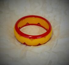 """FAB FRENCH VINTAGE RED AND YELLOW EUROPEAN BAKELITE """" GALALITH """" CHUNKY BANGLE"""