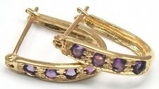 STUNNING! 10KT YELLOW GOLD ROUND AMETHYST HOOP EARRINGS  E908
