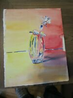 """2 Original Watercolor by Peg Humphreys, Glass Vase & Flower & Abstract 14"""" x 11"""""""