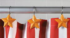 12 YELLOW STAR SHOWER HOOKS Americana Bath Decor ~ NEW!