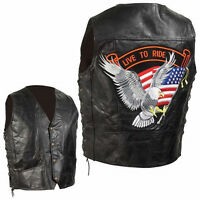 NWT Mens Black Leather Bike Motorcycle Vest EAGLE FLAG  M L XL 2X 3X 4X GIFT