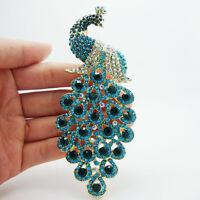 New stylish elegant peacock green blue rhinestone gold tone brooch pin Pendant