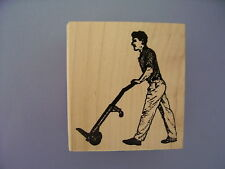 100 PROOF PRESS RUBBER STAMPS MAN WITH A HAND TRUCK NEW wood STAMP