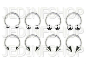 Circular Bar Horseshoe Ring   2.4mm (10g) - 12mm   Stainless Steel - Ball Spike