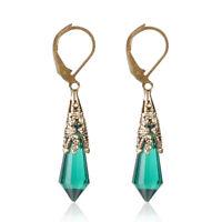 Vintage Blue Sapphire Gem Hoop Earring Drop Dangle Engagement Wedding Earrings