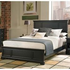 King Size Wood Bed Frame Raised Panel Black Finish Headboard Footboard NEW