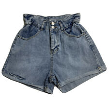 Women's Paperbag Denim Shorts Fashion Jeans Distressed Blue Cinched High Waist