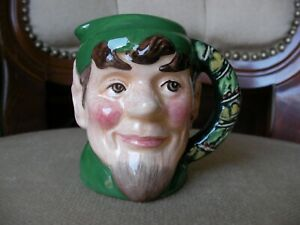 Royal Doulton Miniature Character Toby Jug - The Elf - D6942 Dressed in Emarald!