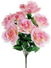 1 Rose Bush 7 Pink Blossoms Artificial Flower Decorating, Crafting, Embellishing