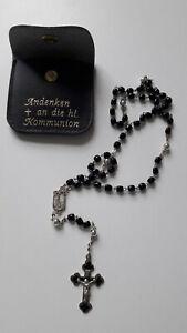 alter Rosenkranz / mit Perlen / Silberanhänger / inkl. Tasche