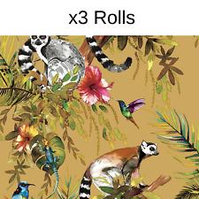 x3 Rolls Ochre Lemur Wallpaper Holden Decor Yellow Green Pink Jungle