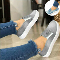 Canvas Trainers Slip Sneakers Flat Loafers Shoe Denim Pumps Casual Size On Women