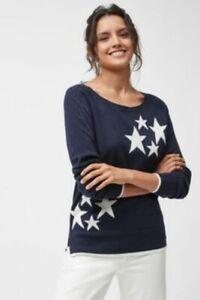 NEXT STAR JUMPER WOMENS SWEATSHIRT TOP NAVY IVORY RRP £20
