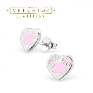 Womans Girls Earrings | Sterling Silver Dog Paw Print Stud Earrings - Boxed