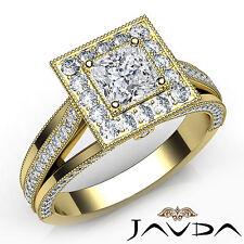 Pave Set Princess Diamond Halo Engagement Ring GIA E VS1 18k Yellow Gold 1.62Ct