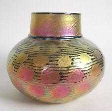 LUNDBERG STUDIOS Iridescent INDIAN BASKET Gold Pink Art Glass Vase 2002 Signed